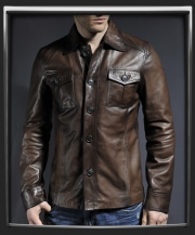 haymaker leather jacket in brown