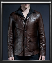 hitman leather jacket in brown