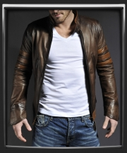 x-men origins leather jacket in brown