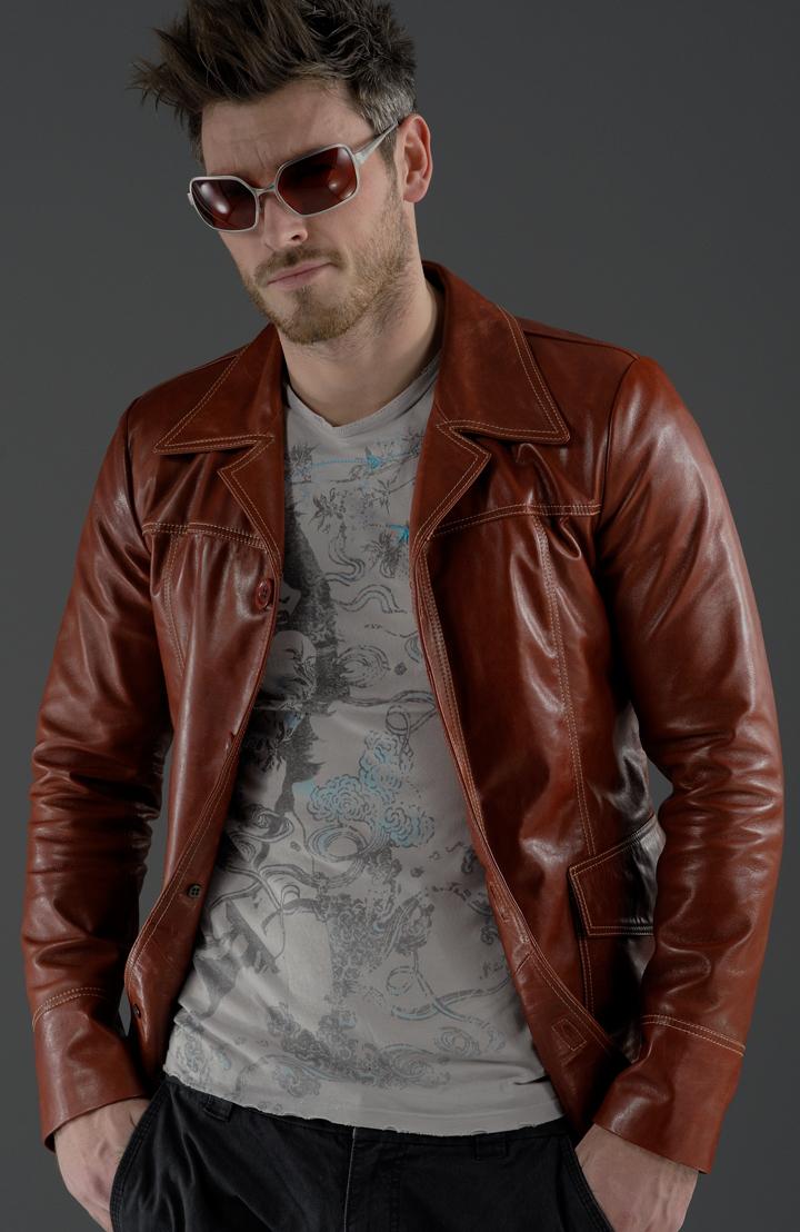 Fight Club Red Leather Jacket | Brad Pitt