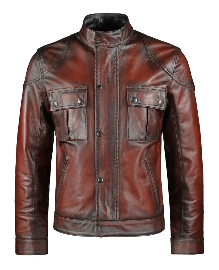 wesley red leather jacket front
