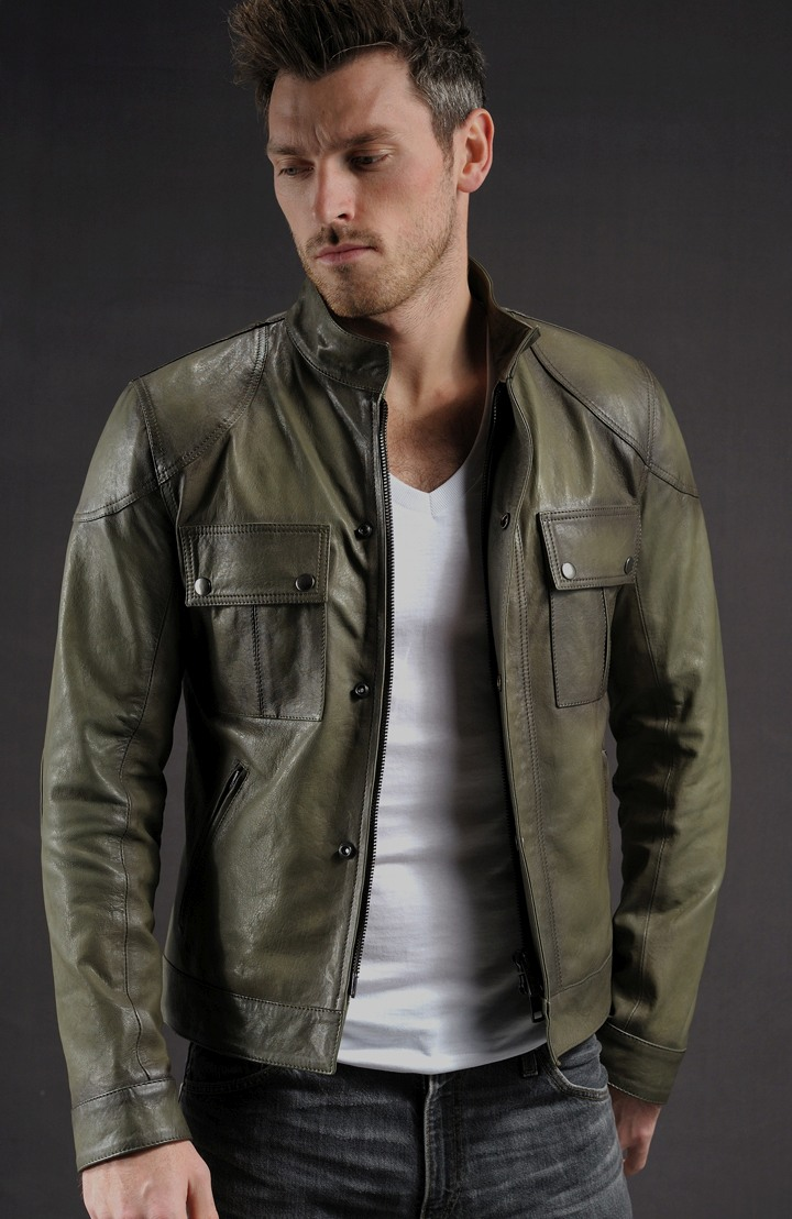 wesley olive leather jacket showcase